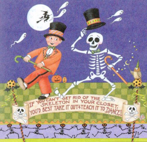 SKELETON DANCE-Handcrafted Halloween Fridge Magnet-w/Mary Engelbreit art