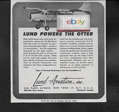 CANADIAN PACIFIC DE HAVILLAND OTTER LUND POWERED P & W R-1340 ENGINES 1955 AD
