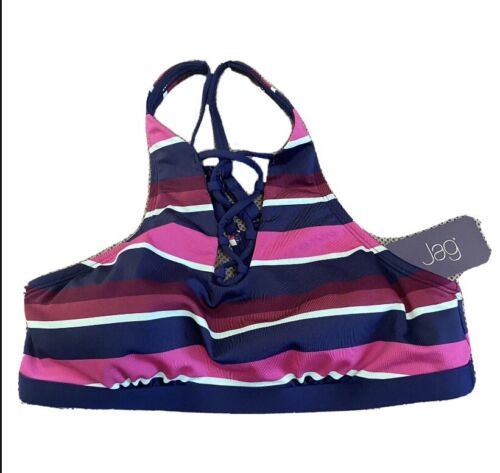 JAG Swimsuit Bikini Top Small Blue Pink Purple Striped $78 NWT Beach Clothing, Shoes & Accessories