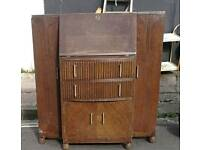 Vintage oak art deco drinks cabinet and bureau