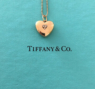 """Tiffany & Co 18K Rose Gold Heart Locket Diamond Pendant Beaded Chain 16"""""""