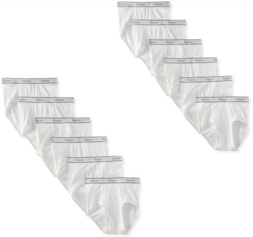 12PK HANES WHITE BRIEFS FOR MENS 100%COTTON SLIGHTLY IMPERFECT