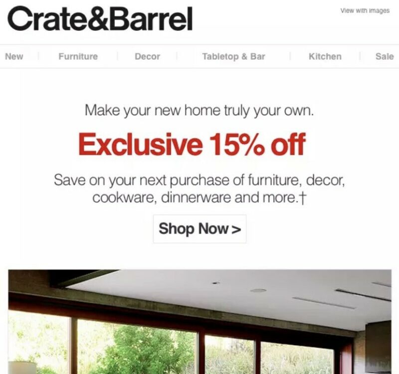 Crate and Barrel coupon 15% off Full Price Items, Including Furniture, Exp 07/31