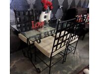 Beautiful Glass Table with Metal Base & Chairs - Delivery Available
