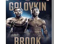 Golovkin V Brook 2 tickets. Block 110.£300