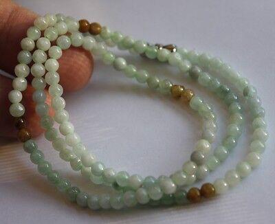 "100% Natural ""Grade A"" Untreated Light Green & Yellow Jadeite JADE Bead Necklace"
