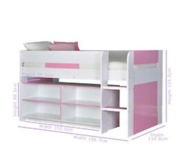 Pink & White children's single cabin bed