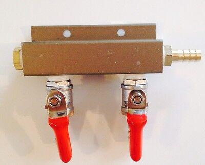 Beer Tap Draft Co2 Nitrogen Gas Regulator 2 Way Spliter Kegerator 14 Barb