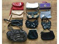 LADIES HANDBAGS BUNDLE OF 12 CLUTCHES PURSES CAR-BOOTERS / EBAYERS GREAT CONDITION