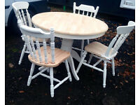 Round Solid wooden Pedestal Table & 4 Pine Farmhouse Chairs,