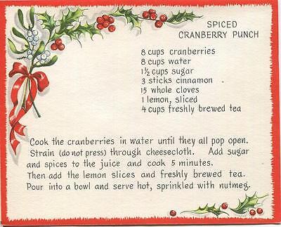 VINTAGE CHRISTMAS SPICED CRANBERRY PUNCH RECIPE 1 SANTA SCHNAUZER PUPPY DOG - Christmas Punch Recipe