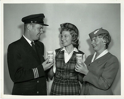 Trans Canada Airlines Pilot   Stewardess    Orig 1960 Tca Promo Photo
