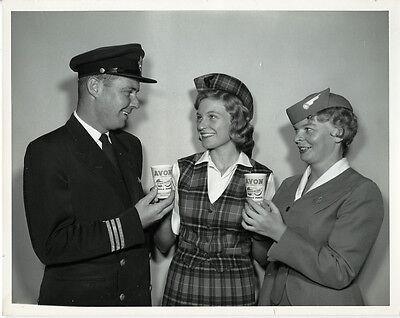 Trans Canada Airlines Pilot   Stewardess    Orig 1960 Tca Promo Photo