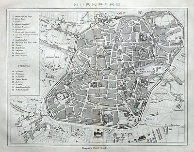 NURNBERG, NUREMBURG, GERMANY,  STREET PLAN original antique map 1872