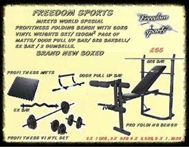 WEIGHTS BENCH BRAND NEW BOXED + 60KG VINYL WEIGHTS EZ BAR , 2 BARBELL, 2 DUMBELLS DOOR PULL UP BAR