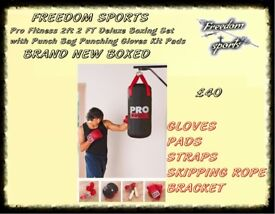 Pro Fitness 2 FT Deluxe Boxing Set with Punch Bag Punching Gloves Kit Pads REDUCED TO CLEAR
