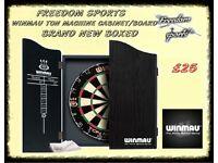 Winmau Ton Machine Dartboard and Black Cabinet Set Brand new Boxed £25