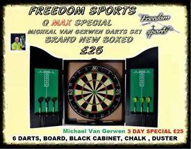 Michael Van Gerwen XQ Max Tour Darts Set FULL MATCH STANDARD BOARD AND CABINET £25