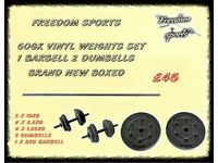 50kg Vinyl Barbell Dumbbell Set BRAND NEW BOXED