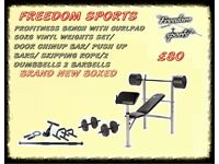 PROFITNESS BENCH WITH CURL PAD 50KG VINYL WEIGHTS AND ACCESSORIES BRAND NEW BOXED 2 DAY SPECIAL £70
