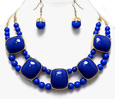 Cabochon Bead Necklace Earrings (Necklace Earrings Set Blue Gold Bead Chain Chunky 17