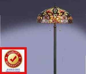 tiffany style lamp floor lamp antique bronze finish cut stained glassfree shp