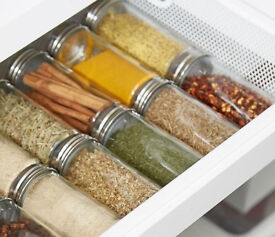 Set of 10 New Chrome Coloured Lids Refillable Clear Glass Spice Herbs Jars Holders+GET 1 FREE!