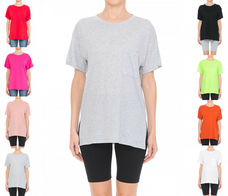 Women's Oversized Round Neck Top Short Sleeve Pocket T Shirt Clothing, Shoes & Accessories