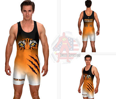 (Custom tiger wrestling singlet, includes 2 custom text areas and custom colors)