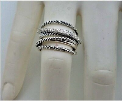 - David Yurman 925 Sterling Silver Crossover Wide Cable Pave Diamond Ring Size 8