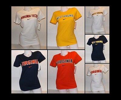 Womens Nike Virginia Tech  West Virginia College Slim Fit T Shirts Xs 2Xl Nwt
