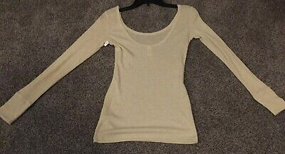 Victoria's Secret Gold Metallic Sparkle Double Scoop Neck Lower Back Scoop Top S Glitter Scoop Neck Top