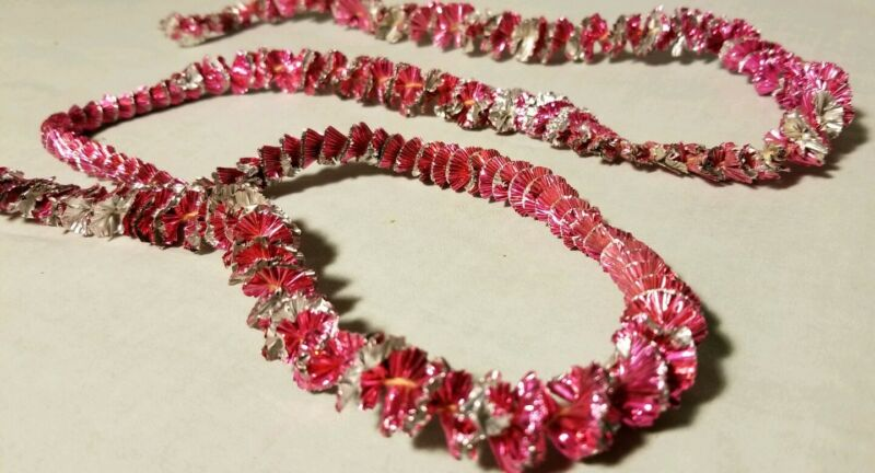 Vtg Tin Garland Crinkled Spiral Christmas Pink Silver Table Top Tree