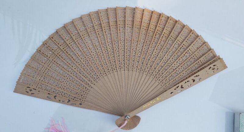 Vintage Asian Folding Fan Sandalwood w/Pink Double Tassel