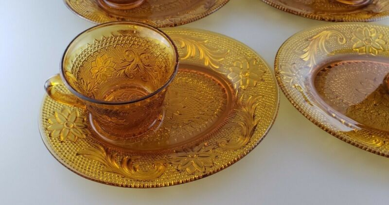 4 Vintage Amber Pressed Glass Tiara Sandwich Snack Plate & Cup Sets