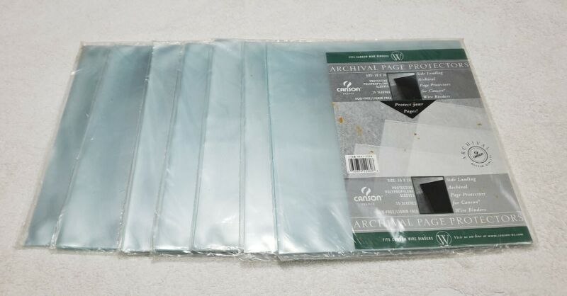 (7) Canson France Archival Page Protectors 10 X 10 Protective Page Sleeves (New)