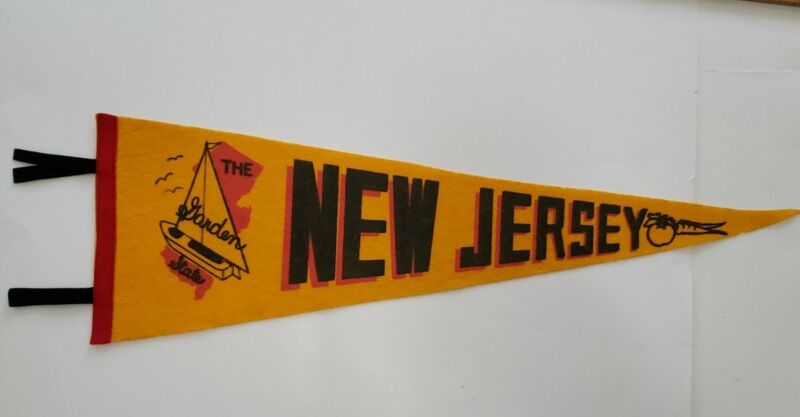 Vintage New Jersey the Garden State travel souvenir felt flag banner pennant