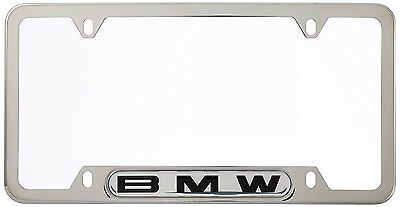 BMW Logo Polished Steel Finish License Plate Frame SINGLE 82120010395 OEM