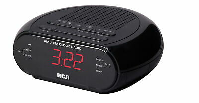 NEW RCA Dual Wake Black  Clock  With Radio & Red LED   **With Free Shipping**