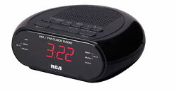 NEW RCA Dual Wake Black  Clock  With Radio & Red LED   ** FREE 2 DAY  SHIPPING**