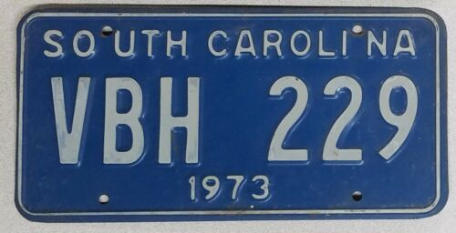 Vintage expired 1973 SOUTH CAROLINA White on Blue License Plate ~ VBH 229