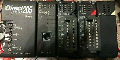 Automation Direct Logic Koyo Plc D2-04b D2-230 D2-16nd3-2 D2-12ta Rack Chasis