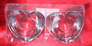 2-Tea-Light-Votive-Candle-Holder-Heart-Shaped-Holder-Clear-Heavy-Thick-Glass