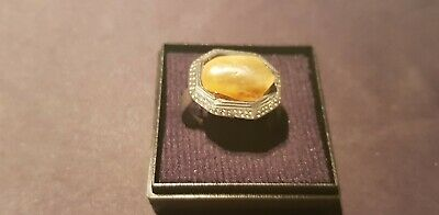 Stunningly beautiful Viking bronze, Amber ring. A must read description. L59b