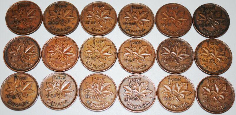 Canada 1937-1952 set George VI 1 Cent 18 Coins