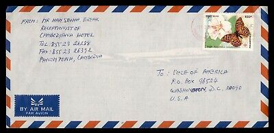 DR WHO 1992 CAMBODIA PHNOM PENH METERED AIRMAIL TO USA BUTTERFLY  g18370