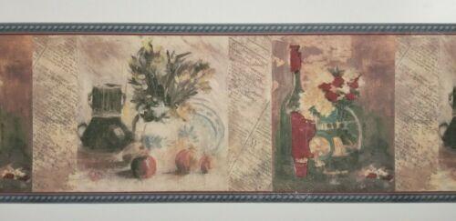 Vintage Painting Wine /Mug Wallpaper Border