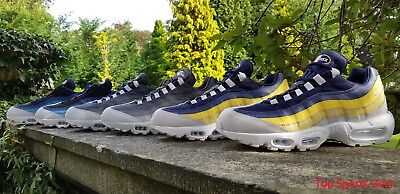 Nike Air Max 95 Essential Mens Trainers Blue Grey Yellow UK Sizes 5 -12 RRP £129