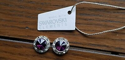 Genuine Swarovski Elements 13mm Amethyst Crystal  Stud Earrings