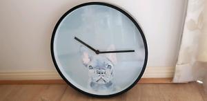 Adairs 30cm French Bulldog Puppy Dog Blue Wall Clock NEW IN BOX!